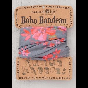 Natural Life Boho Headband Bandeau Pink & Gray